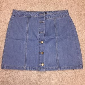Women's Forever 21 Size L Button Jean Skirt